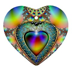 Rainbow Fractal Heart Ornament (two Sides)