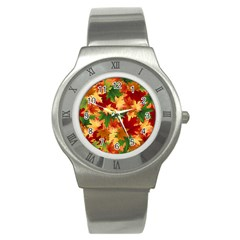 Autumn Leaves Stainless Steel Watch