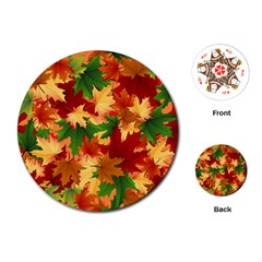 Autumn Leaves Playing Cards (round)