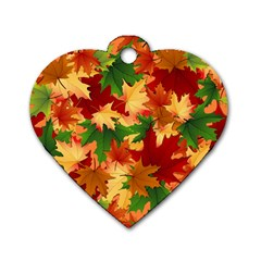 Autumn Leaves Dog Tag Heart (two Sides)
