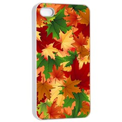 Autumn Leaves Apple Iphone 4/4s Seamless Case (white)