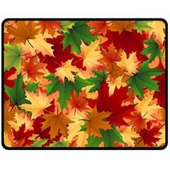 Autumn Leaves Double Sided Fleece Blanket (medium)