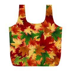 Autumn Leaves Full Print Recycle Bags (l)