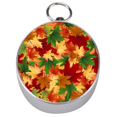 Autumn Leaves Silver Compasses