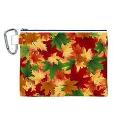 Autumn Leaves Canvas Cosmetic Bag (l)