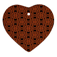 Triangle Knot Orange And Black Fabric Ornament (heart)