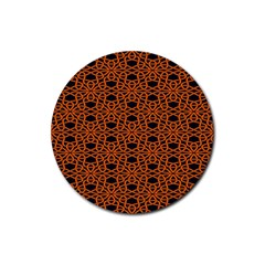 Triangle Knot Orange And Black Fabric Rubber Round Coaster (4 Pack)
