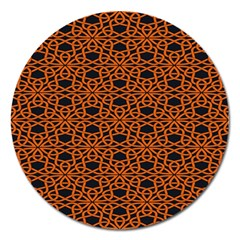 Triangle Knot Orange And Black Fabric Magnet 5  (round)