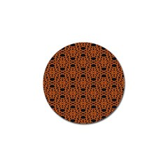 Triangle Knot Orange And Black Fabric Golf Ball Marker
