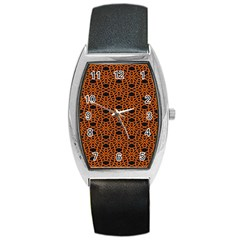 Triangle Knot Orange And Black Fabric Barrel Style Metal Watch