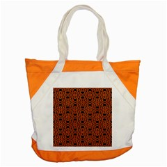 Triangle Knot Orange And Black Fabric Accent Tote Bag