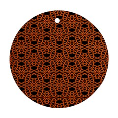 Triangle Knot Orange And Black Fabric Round Ornament (two Sides)