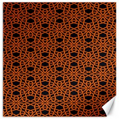 Triangle Knot Orange And Black Fabric Canvas 16  X 16