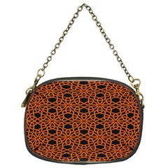 Triangle Knot Orange And Black Fabric Chain Purses (one Side)