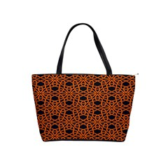 Triangle Knot Orange And Black Fabric Shoulder Handbags