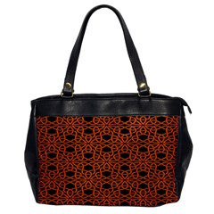 Triangle Knot Orange And Black Fabric Office Handbags