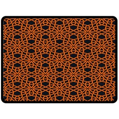 Triangle Knot Orange And Black Fabric Double Sided Fleece Blanket (large)