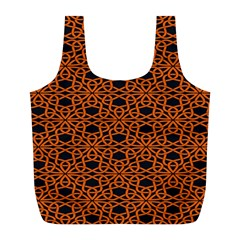 Triangle Knot Orange And Black Fabric Full Print Recycle Bags (l)