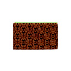 Triangle Knot Orange And Black Fabric Cosmetic Bag (xs)