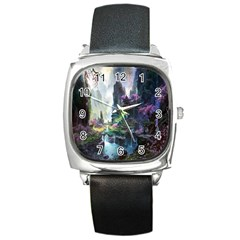 Fantastic World Fantasy Painting Square Metal Watch