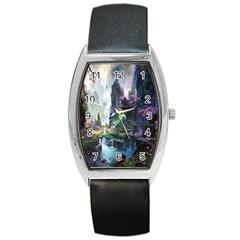 Fantastic World Fantasy Painting Barrel Style Metal Watch