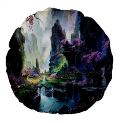 Fantastic World Fantasy Painting Large 18  Premium Round Cushions