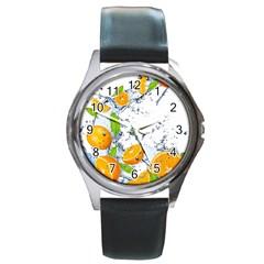 Fruits Water Vegetables Food Round Metal Watch