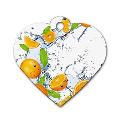 Fruits Water Vegetables Food Dog Tag Heart (two Sides)