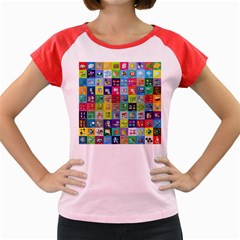 Exquisite Icons Collection Vector Women s Cap Sleeve T Shirt