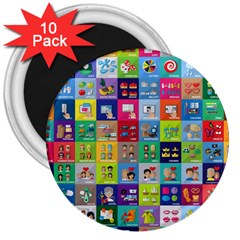 Exquisite Icons Collection Vector 3  Magnets (10 Pack)