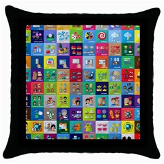 Exquisite Icons Collection Vector Throw Pillow Case (black)