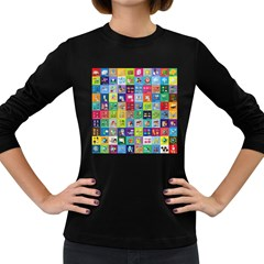 Exquisite Icons Collection Vector Women s Long Sleeve Dark T Shirts