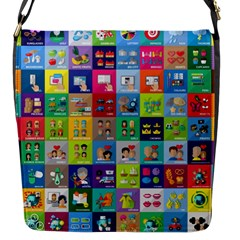 Exquisite Icons Collection Vector Flap Messenger Bag (s)