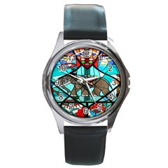 Elephant Stained Glass Round Metal Watch