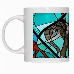 Elephant Stained Glass White Mugs