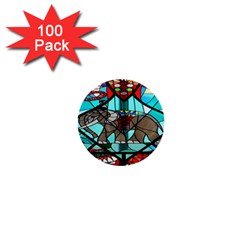 Elephant Stained Glass 1  Mini Buttons (100 Pack)