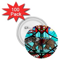 Elephant Stained Glass 1 75  Buttons (100 Pack)