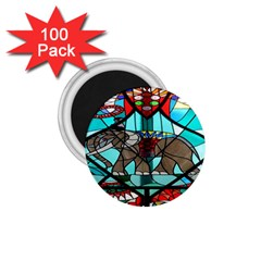 Elephant Stained Glass 1 75  Magnets (100 Pack)