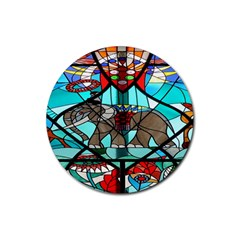 Elephant Stained Glass Rubber Round Coaster (4 Pack)