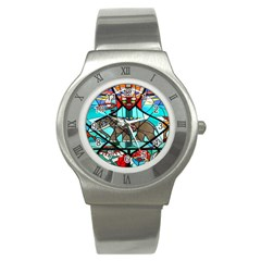 Elephant Stained Glass Stainless Steel Watch