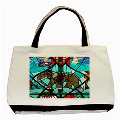 Elephant Stained Glass Basic Tote Bag
