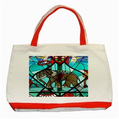 Elephant Stained Glass Classic Tote Bag (red)