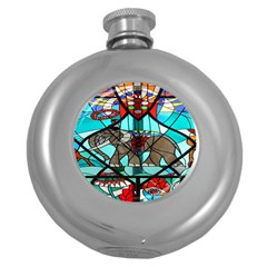 Elephant Stained Glass Round Hip Flask (5 Oz)