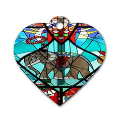 Elephant Stained Glass Dog Tag Heart (one Side)