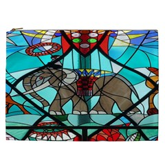 Elephant Stained Glass Cosmetic Bag (xxl)