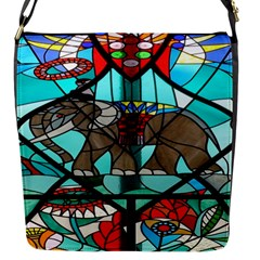 Elephant Stained Glass Flap Messenger Bag (s)