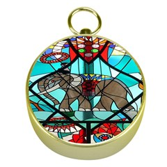 Elephant Stained Glass Gold Compasses