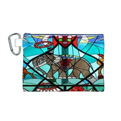 Elephant Stained Glass Canvas Cosmetic Bag (m)