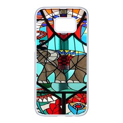Elephant Stained Glass Samsung Galaxy S7 Edge White Seamless Case