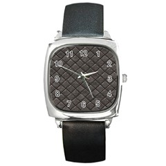 Seamless Leather Texture Pattern Square Metal Watch